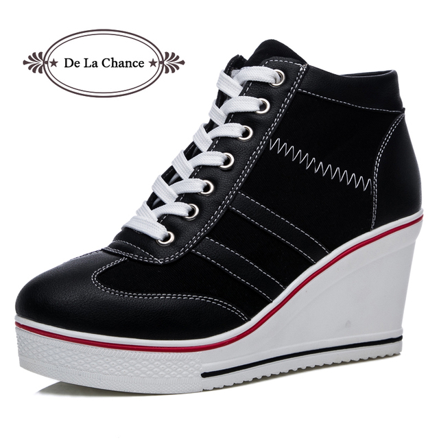 55f7375a6fc2 New Plus Size Women Wedge Sneakers Causal Shoes Woman Breathable Platform  Black White Canvas Shoes Lace