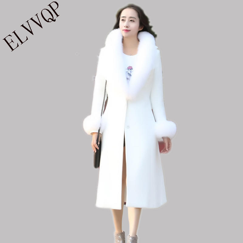 High Quality 2018 New Fashion Autumn winter wool coat women Long big fur collar coat large size double breasted outerwear LF574 2016 new fashion fur collar women coat sexy ladies wool sweater double breasted thick skirt cotton dress 3 colors size s 2xl page 4 page 5 page 1 page 3