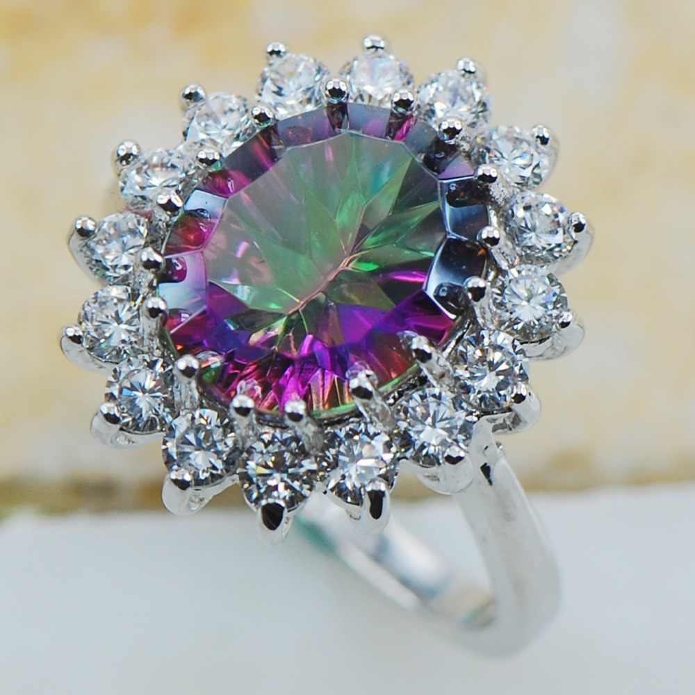 Rose Rainbow Crystal Zircon 925 Sterling Silver Top Quality Fancy Jewelry wedding Ring Size 5 6 7 8 9 10 11 F1177