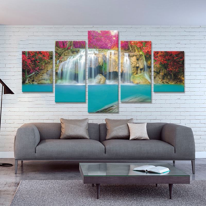 2017 Hot Sale New Wall Art 5 Piece(no Frame) Waterfall Home Wall Decor Canvas Picture Art Hd Print Painting On For Living Room