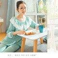 Одежда для беременных женщин из хлопка и модала  осенняя ночная рубашка для кормления грудью  кружевные пижамные комплекты свободного покр...