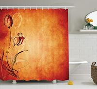 Antique Shower Curtain, Vintage Aged Background with The Silhouette of Rose Bloom Digital Image, Bathroom Decor