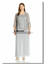 Gray Plus size Three pieces Lace mother of the bride pant suit dresses with Elastic waist