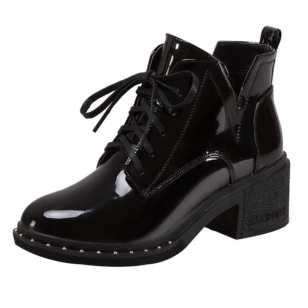 0f232f6f2da7 Femmes Zapatos Chaussures Bottes En Punk 2018 Lacets Cheville Cuir Femme  Mujer Automne À Noir Rond Bout Printemps rgqCwrU
