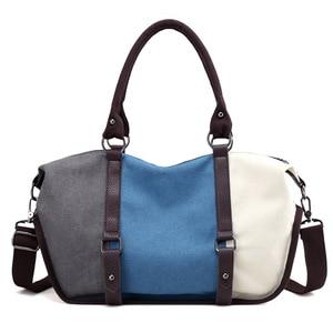 Image 2 - KVKY Women Canvas Bag Handbag Famous Brand Large Capacity Patchwork Tote Bag Hipster Classic Hobos Vintage Shoulder Travel Bag