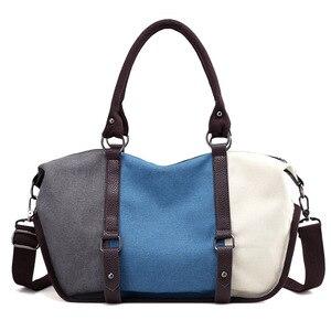 Image 2 - Kvky 女性キャンバスバッグハンドバッグ有名なブランド大容量パッチワークトートバッグヒップスタークラシックホーボーヴィンテージショルダーバッグ旅行バッグ