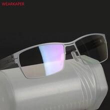WEARKAPER unikalna konstrukcja bez śruby oprawki do okularów Ultra lekka Ultra cienka męska ramka do okularów krótkowzrocznych