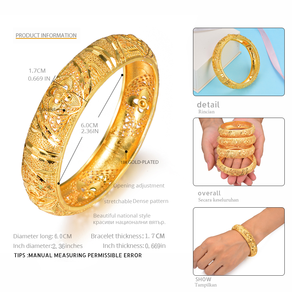 Engagement & Wedding 18k Gold Plated Fashion Bangle Bracelet Open Screw Bangles Set Of 2 Ethnic Style