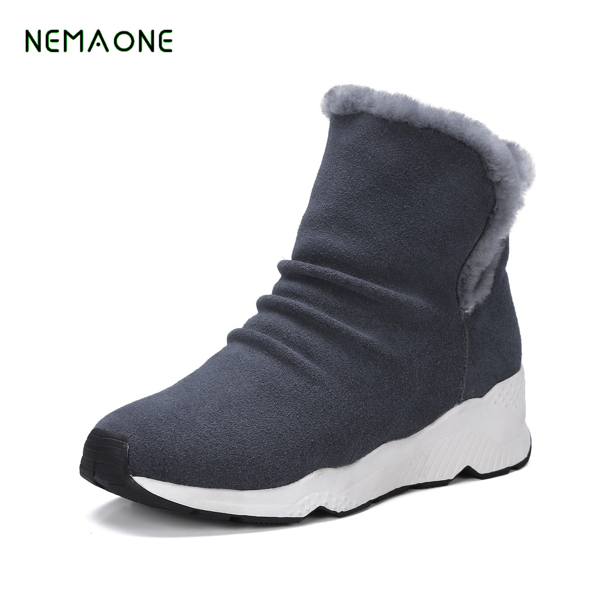 NEMAONE 2017 NEW Women Winter Boots Genuine Leather Ankle Snow Boots Female Warm Fur Plush Insole High Quality Women Shoes