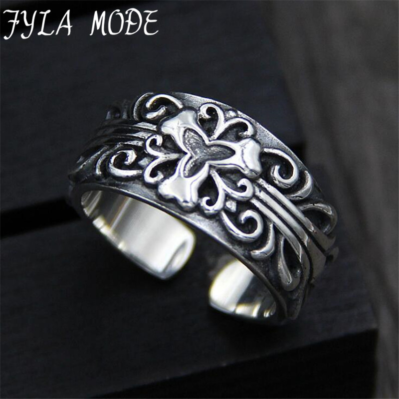 FYLA MODE 2017 Fashion Punk S925 Silver Sterling Jewelry 2017 Trendy Top Quality Concise Carved Flower Ring  11MM  8.70G  PBG033