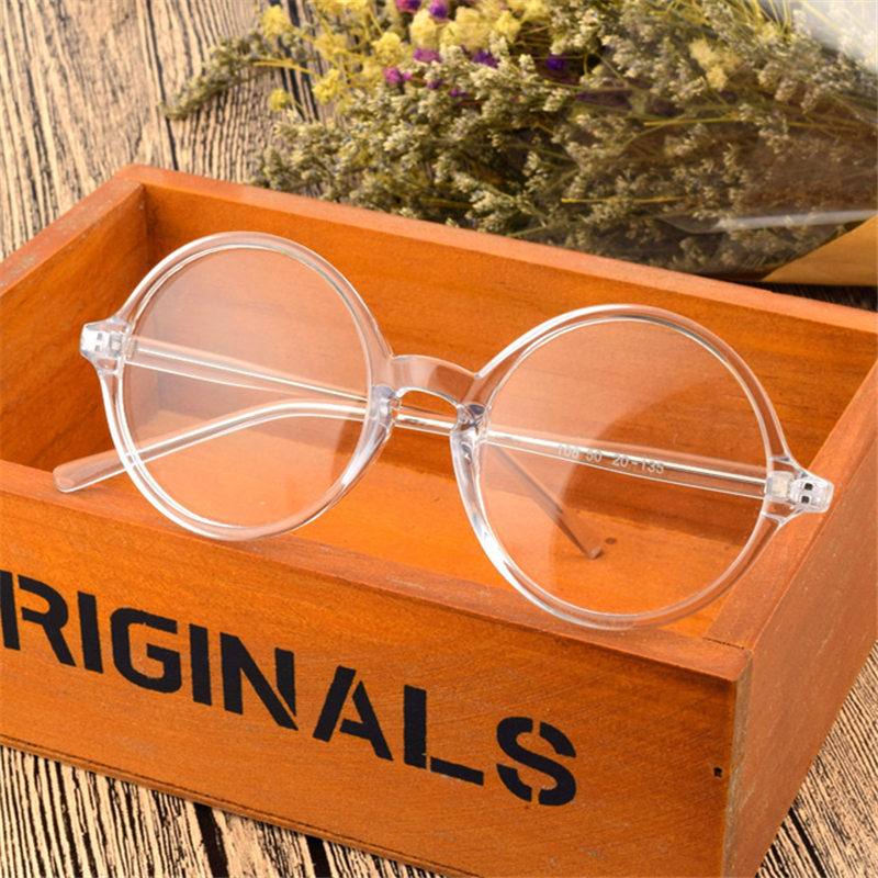 Fashion Round Plain Glasses Vintage Clear Lens Eyewear Women Men Retro Myopia Optical Glasses Frame Transparent