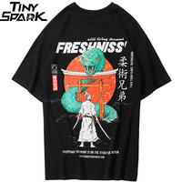 2019 Men Hip Hop T Shirt Japanese Samurai Snake Print Harajuku T Shirt Streetwear Japan Style Tops Tees Cotton Tshirt Oversized