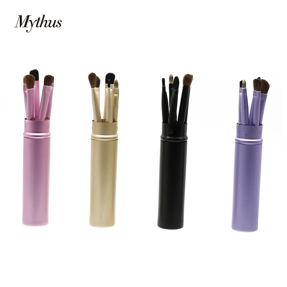 Mythus 5pcs Round Tube Makeup Eyeshadow Brush Cosmetic Makeup Eyebrow Lip Brushes Kit Eyeliner Powder Tool Set In 4 Colors