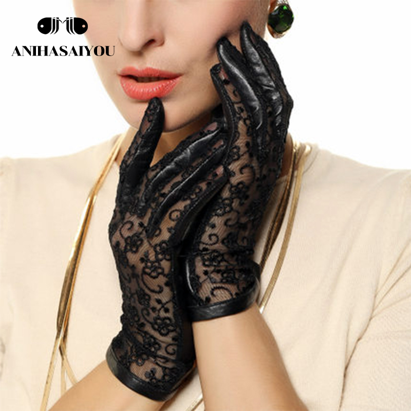 Autumn leather gloves women sheepskin gloves thin non-slip drive lace sunscreen leather touch gloves - L023N