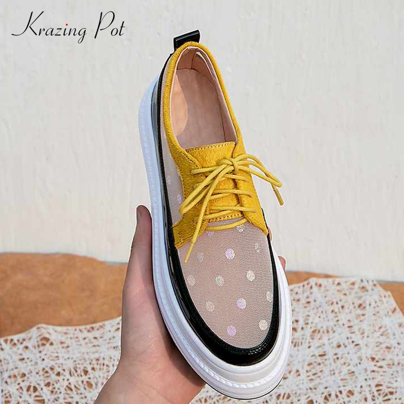 Krazing Pot 2019 air mesh breathable polka dot prints horsehair lace up round toe summer sneakers female vulcanized shoes L25-in Women's Vulcanize Shoes from Shoes    1