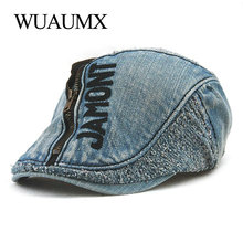 Wuaumx Painter Berets For Men Women Duckbill Hat Zipper Visors Denim Peaked Flat Cap Fashion Mens Beret boina mujer Chapeau