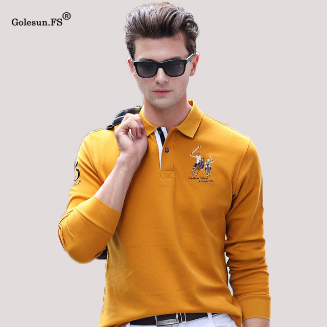 Plus Size New arrival Autumn men's casual Cotton Slim   Polo   shirts Long-sleeve mens tops Tees clothings 2881