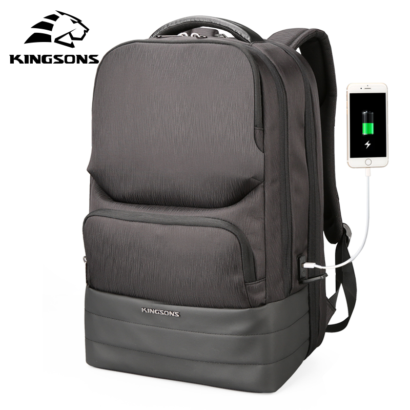 Kingsons 15.6 inches 2.0 USB Recharging Water Repellent Laptop Backpack Men Business Multifunction Backpacks Fashion Bags anogol 28 inches
