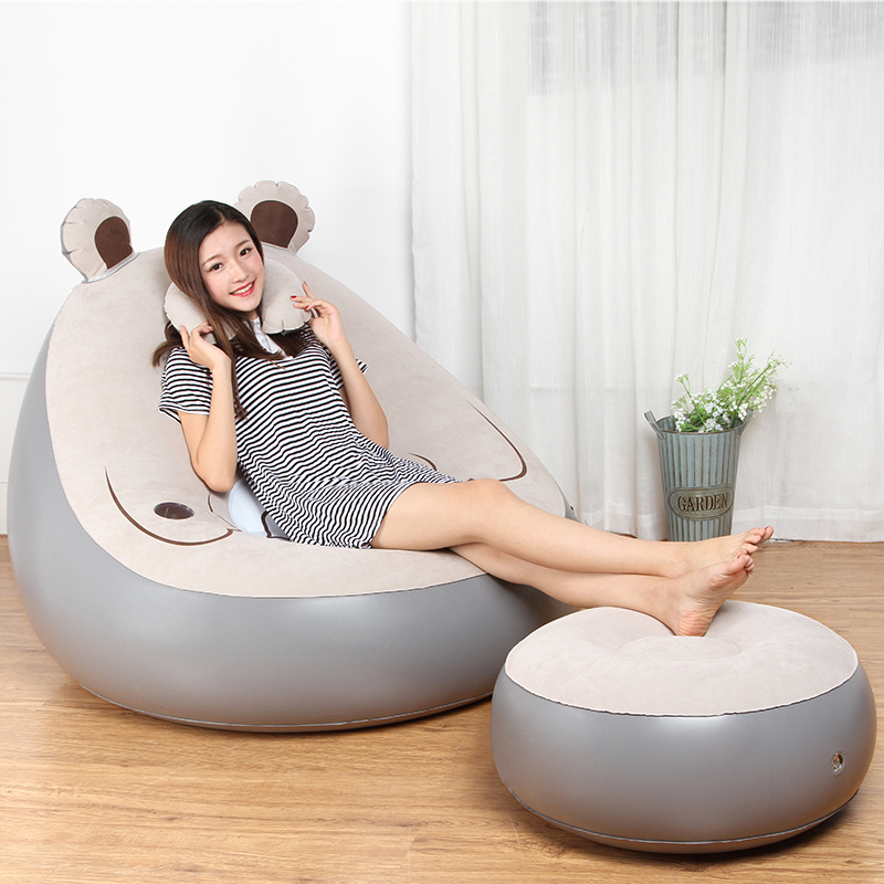 Creative Lazy Couch Cartoon Bear Single Balcony Nap Inflatable Sofa Bed Bedroom Leisure Dormitory Lazy Chair Home Furniture Living Room Sofas
