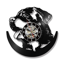 Decorative Dog Series Record Wall Clock Creative Silent Quartz Handmade CD Vinyl Antique Hollow LED Hanging Kids Gift