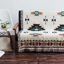 160*220cm Bohemian Geometric Woven Sofa Covers Blanket Plaids Cotton Quilting Chair Blanket Towel Slipcovers Protect Cover(China)