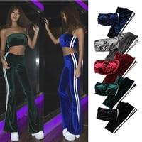 New 2017 Summer Set Women Velvet Strapless Long Pants Two Pieces Striped Flare Pants Trousers Women