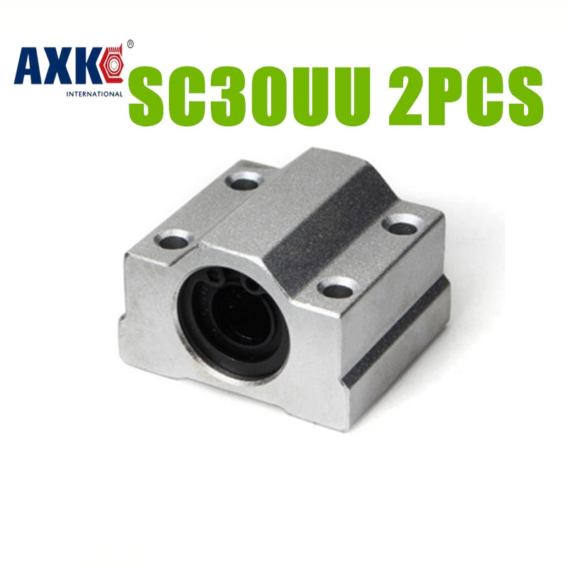AXK SC30UU SCS30UU 30mmLinear rail box bearings linear motion ball slide units 2PCS SC30UU scv25uu slide linear bearings aluminum box type cylinder axis scv25 linear motion ball silide units cnc parts high quality