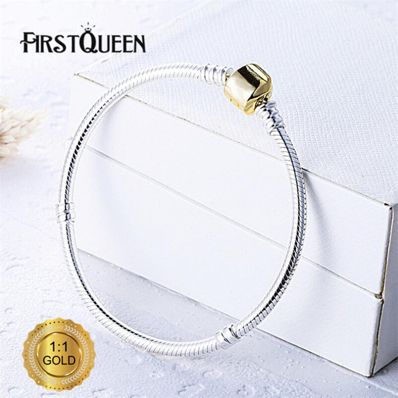 FirstQueen Genuine Silver Charm Bracelet With 14K Gold Clasp Fit Brand Charms Beads Anniversary DIY Gift For Jewelry Making