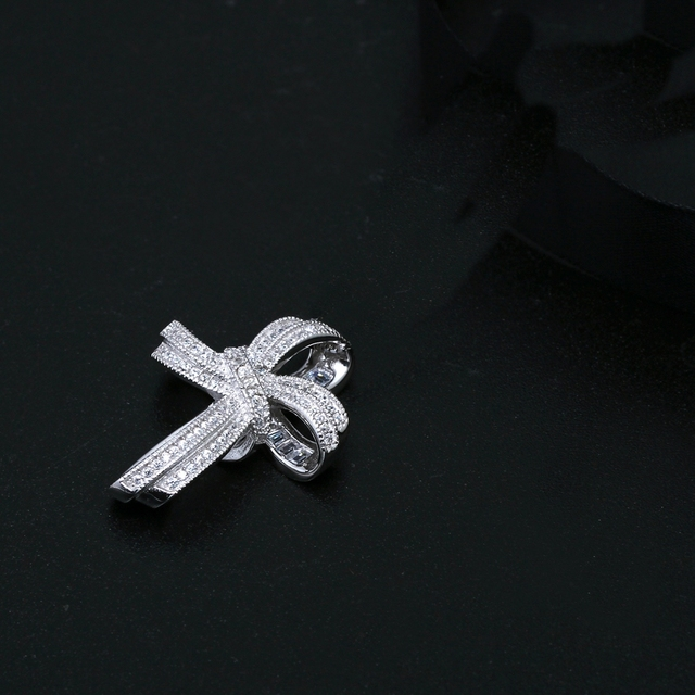 DreamCarnival 1989 Trendy Cross Bowknot Pendant Necklace Link Chain Amazing Price Zircon Fashion Jewelry Ship from USA SZ12599R