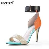 TAOFFEN Ladies Geniue Leather Colour Matching High Heel Sandals Summer Vocation Fashion Women Thin Heel Shoes