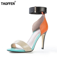 TAOFFEN Ladies Geniue Leather Colour Matching High Heel Sandals Summer Vocation Fashion Women Thin Heel Shoes