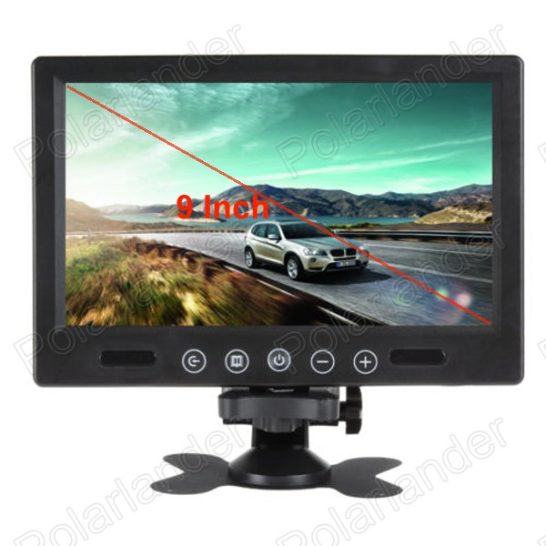9 Inch Dashboard Car Monitor 2 Video Input TFT LCD Color Screen support rear view camera reverse priority 7 inch digital color hd tft lcd monitor screen 2 video input black for car rear view backup camera dvd vcr gps tv
