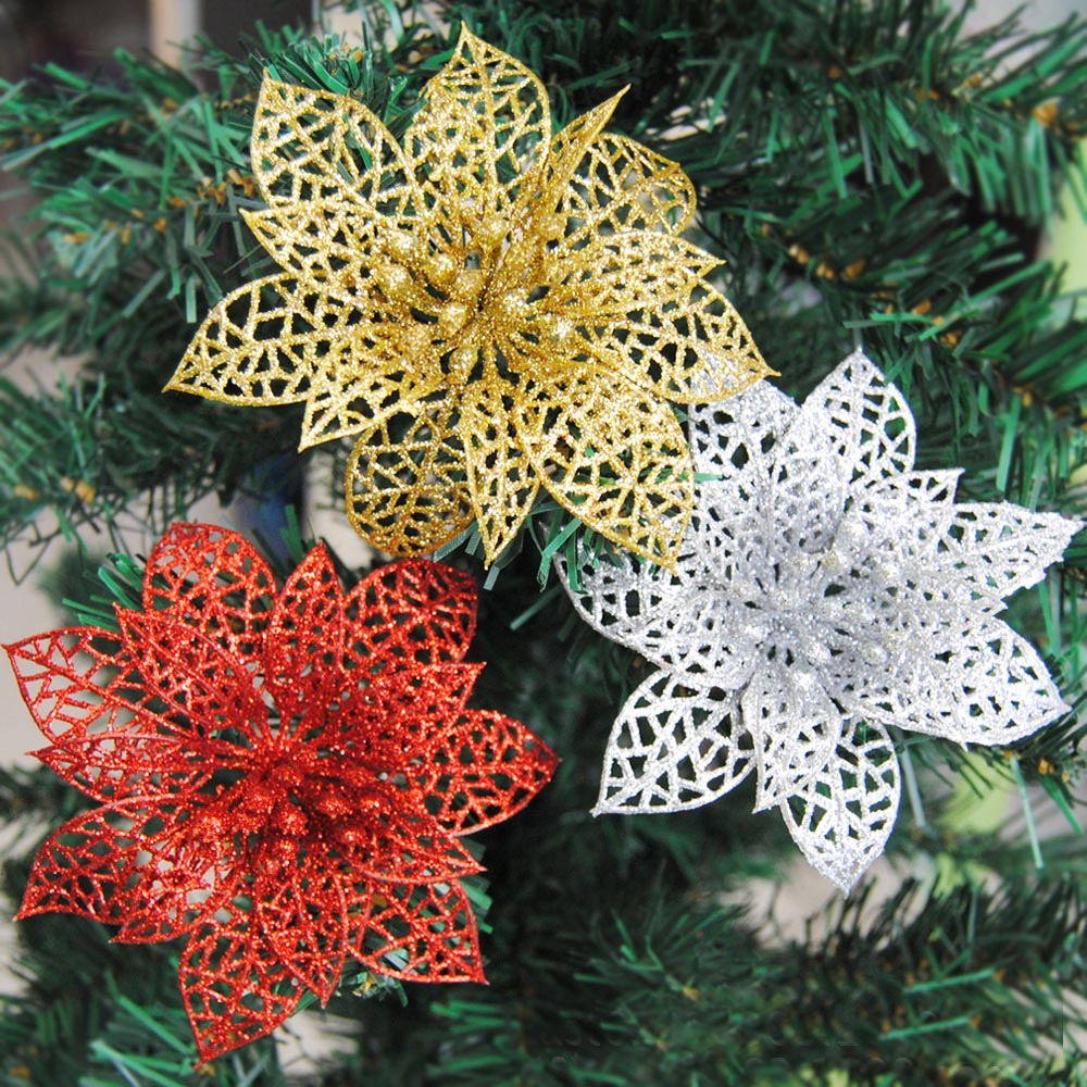 10pcs Colourful Glitter Artificial Hollow Flowers Party Christmas Xmas Tree Ornaments Garden Valentine's Day Home Decorations