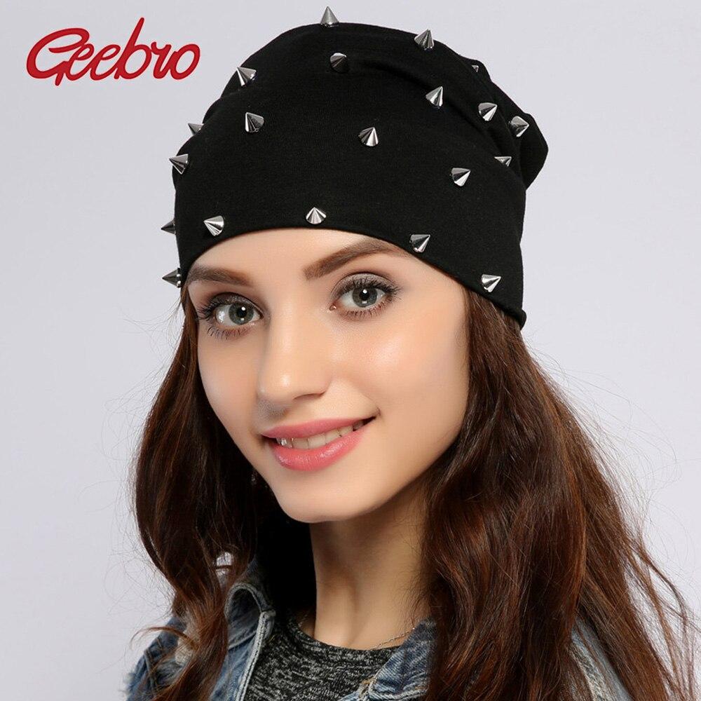 Geebro Women's Beanie Hat Autumn Cotton Metallic Rivet Slouchy Beanies For Men Unisex Plain Hip Hop Balavaca Skullies&Beanies