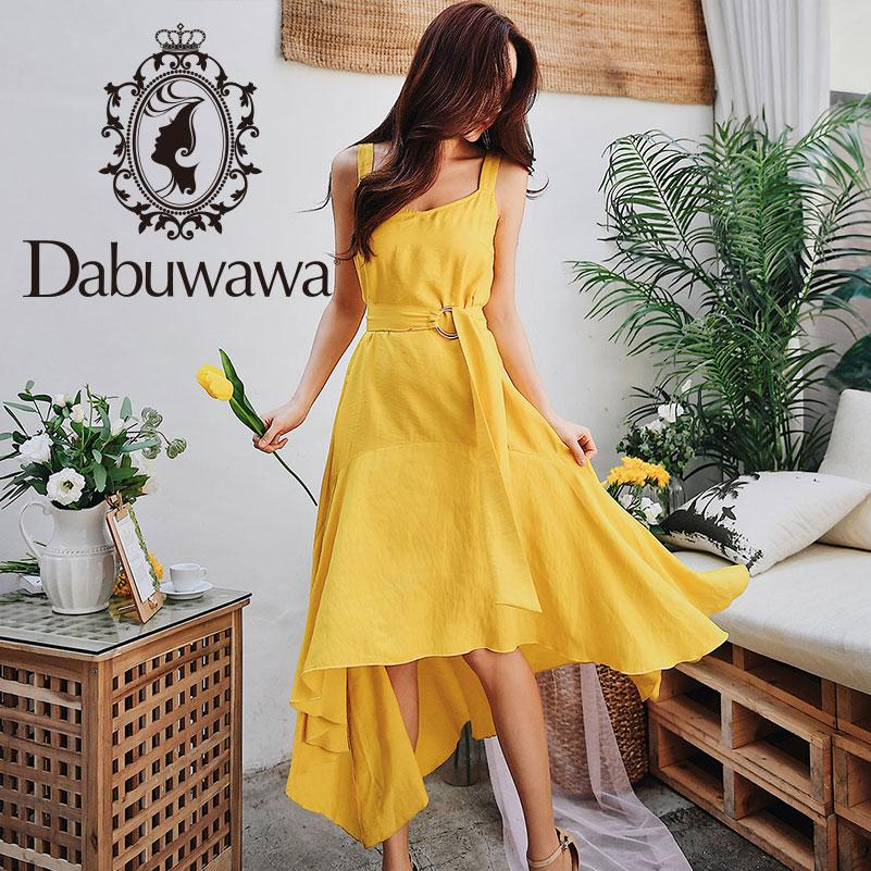 Dabuwaw Summer Yellow Swing Maxi Dress Women Girls 2019 New Sleeveless Asymmetrical Strap Long Party Vest
