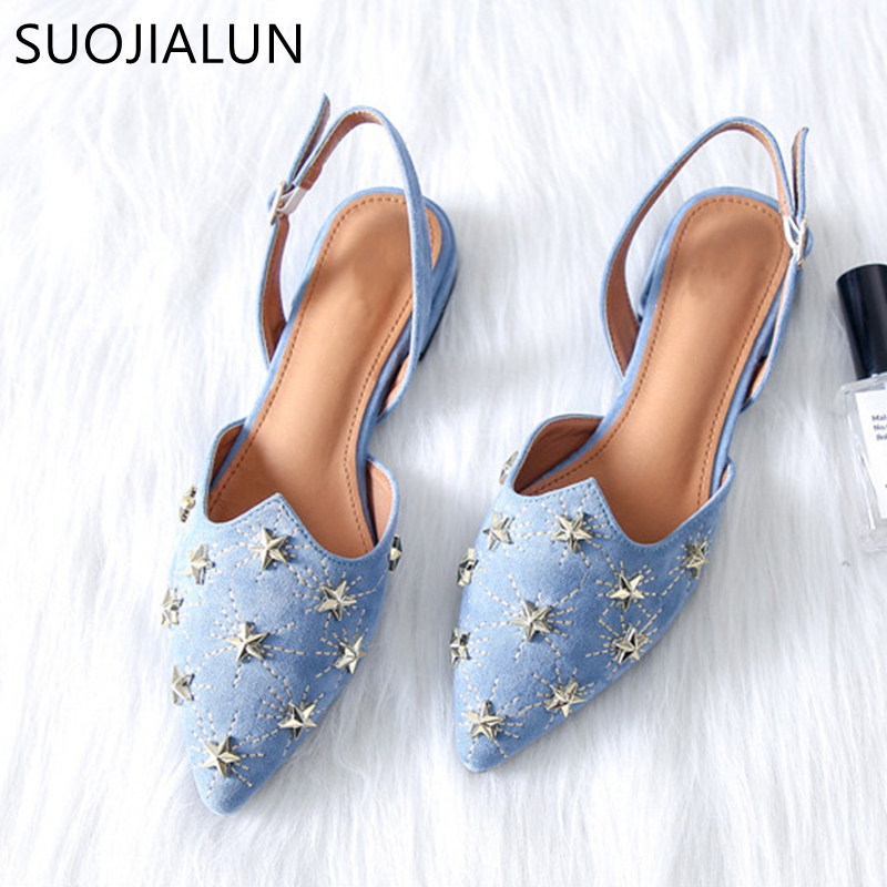 SUOJIALUN Handmade Fashion Rive Shallow Slippers Women Mules Shoes Spring Autumn Outside Slides Casual Women Flat Shoes