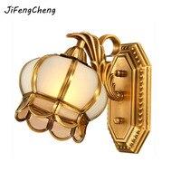 JiFengCheng Modern European Style Led Wall Lamp 110V~220V Single head All copper Glass E27 Loft Home Lighting Bedroom Lamp