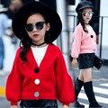Meninas outono inverno lanterna manga cardigans blusas da moda meninas crianças camisola de algodão do bebê da menina roupas casacos casaco para 3-11