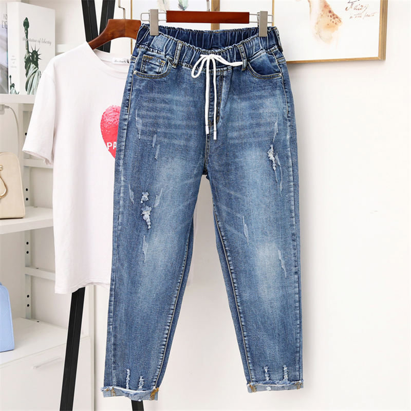 5XL Vintage Ripped Hole Jeans Women Harem Pants Casual High Waist Denim Jeans Femme Streetwear Plus Size Mom Jeans Mujer Q1245