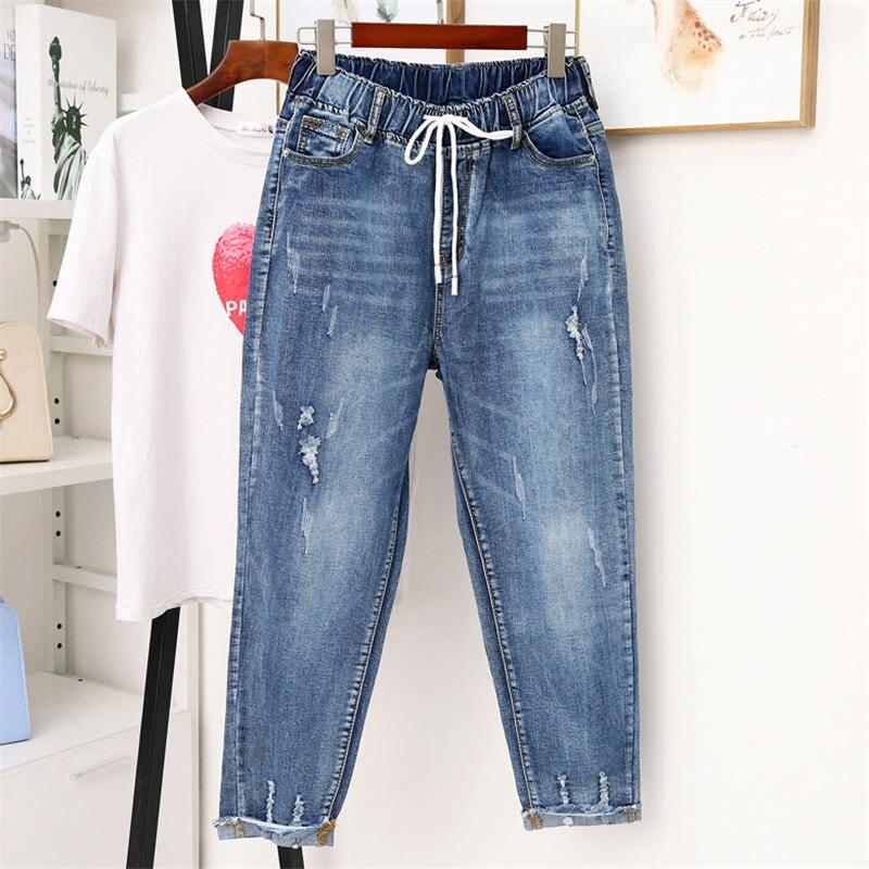 5XL Vintage Ripped Hole Jeans Women Harem Pants Casual High Waist Denim Jeans Femme Streetwear Plus Size Mom Jeans Mujer Q1245