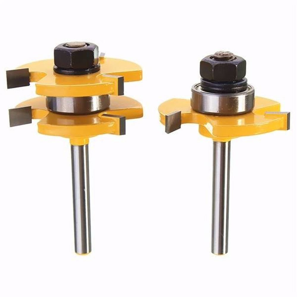 2Pcs Tongue & Groove Router Bit Set 1/4 Inch Shank 3 Teeth T-shape Wood Milling Cutter 2pcs hot sale tenon cutter floor wood drill bits groove and tongue router bit 1 4 t type shank 3 teeth milling cutter for wood