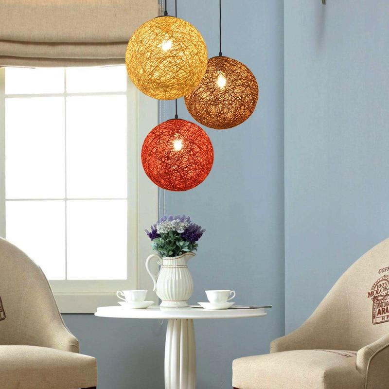 Pendant Lights Rattan Chandelier Vintage Lamp Restaurant Chandelier Modern Led Ceiling Light Ac 90v-260v Bedroom Ma Ball Chandelier