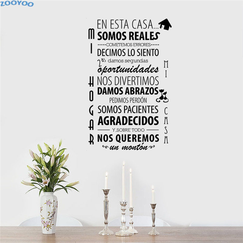ZOOYOO Frase Spagnolo Wall Sticker Art Home Decor Living Room ...