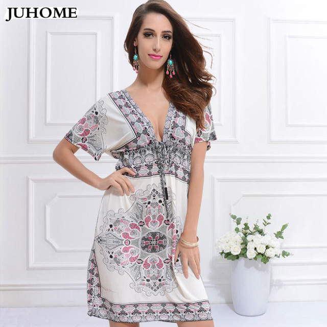 2017 new summer loose style bohemia beach yellow dresses Floral Print plus size women clothing boho chic hippie tunic sundresses