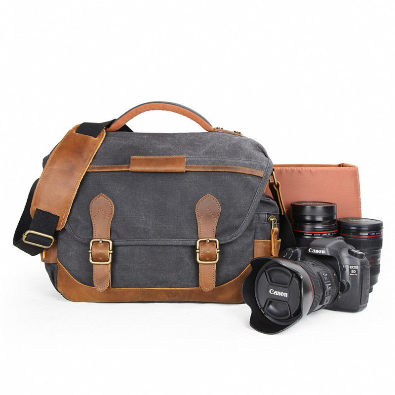 Waterproof Batik Canvas Photography DSLR Camera Shoulder Bag With Insert Vintage Casual Bag for Canon Sony