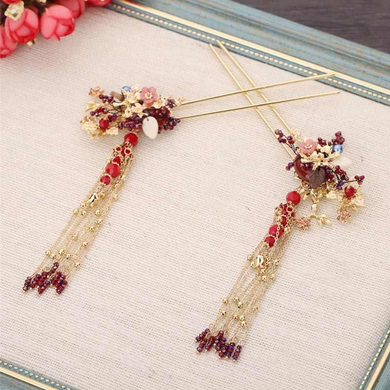 הסיני עתיק זהב פניקס כתר סיכות עגילים מסורתי קלאסי כלה נזר כובעי תכשיטים