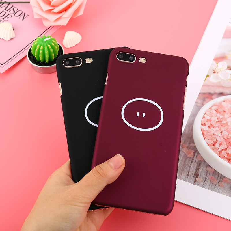 Wine Red Color Phone Cases For iphone 7 Case Couples Pig Cartoon Hard PC Back Cover For iphone 8 Plus 6 6S 7 Plus Slim Capa