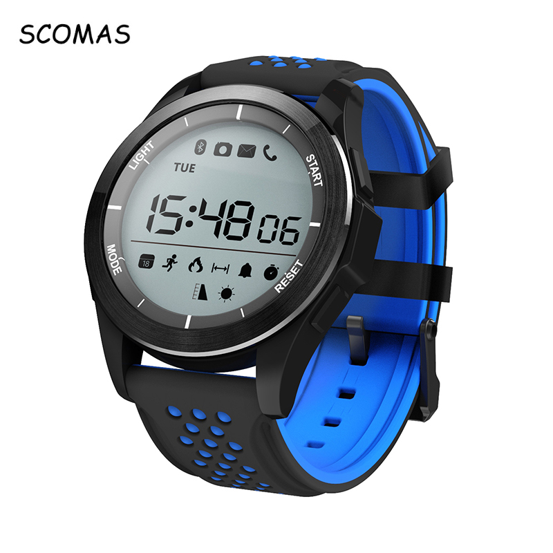 SCOMAS F3 Bluetooth Smart Watches for Men Waterproof Pedometer Fitness Tracker Smartwatch with Remote Camera for Android IOS mymei bluetooth pedometer tracker smartband remote camera wristband for android ios sc