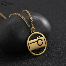 My Shape Fashion Stainless Steel Round Camera Robot Pendant Gold Silver Necklace Women Summer Link Chain