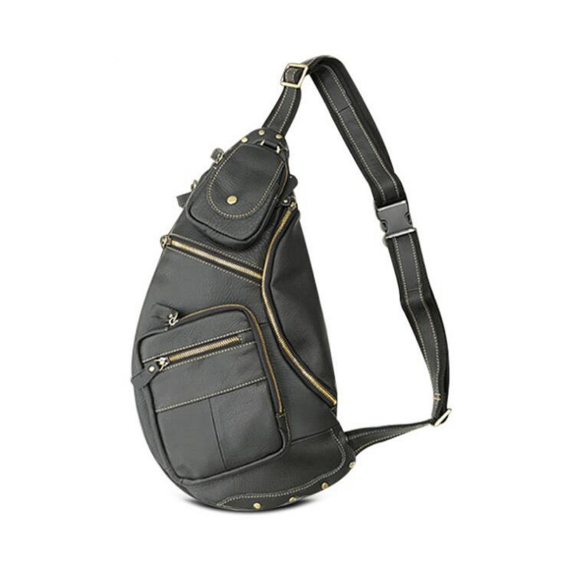 New Men Genuine Leather Travel Riding Motorcycle Shoulder Cross Body Messenger Sling Back Pack Chest Casual Bag men canvas high capacity travel motorcycle cross body messenger shoulder back pack sling chest casual bag